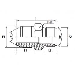 Reductie UNF Filet Exterior con 74 - BSP Filet Exterior con 60