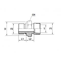Reductie METRIC Filet Exterior con 24 ERMETO - UNF Filet Exterior fara con cu loc garnitura