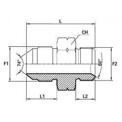 Reductie UNF Filet Exterior con 74 - METRIC Filet Exterior con 60